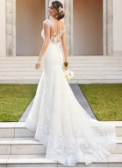 Trumpet/Mermaid Scoop Neck Court Train Tulle Lace Wedding Dress With Lace