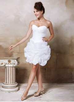 Sheath/Column Strapless Sweetheart Short/Mini Organza Satin Wedding Dress With Ruffle