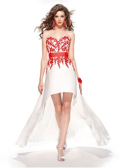 A-Line/Princess Strapless Sweetheart Asymmetrical Chiffon Charmeuse Prom Dress With Lace Sash