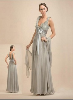 Empire V-neck Floor-Length Chiffon Charmeuse Mother of the Bride Dress With Beading