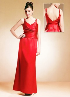 Sheath/Column V-neck Floor-Length Satin Mother of the Bride Dress With Ruffle