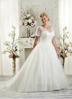 A-Line/Princess Scoop Neck Court Train Tulle Wedding Dress  ...