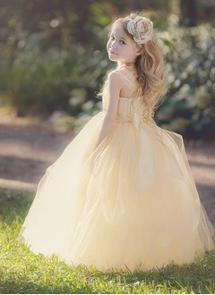 Empire Floor-Length Tulle Flower Girl Dress With Flower(s) Bow(s)
