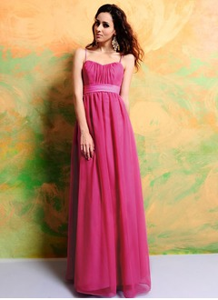 Empire Sweetheart Floor-Length Chiffon Charmeuse Bridesmaid Dress With Ruffle