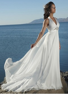 Empire Halter Watteau Train Chiffon Wedding Dress With Beading