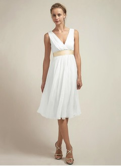 Empire V-neck Knee-Length Chiffon Wedding Dress With Ruffle Sash