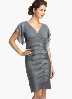 Sheath/Column V-neck Knee-Length Chiffon Homecoming Dress With Cascading Ruffles