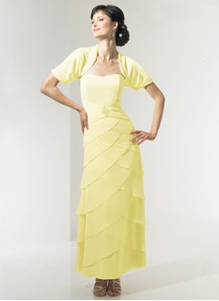 A-Line/Princess Sweetheart Ankle-Length Chiffon Charmeuse Mother of the Bride Dress With Ruffle Beading