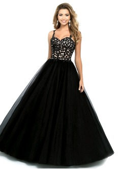 Ball-Gown Sweetheart Floor-Length Tulle Prom Dress With Beading Appliques Lace Sequins