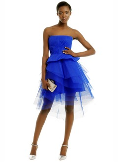 A-Line/Princess Strapless Asymmetrical Tulle Homecoming Dress With Ruffle