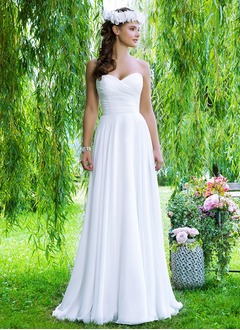 A-Line/Princess Strapless Sweetheart Court Train Chiffon Wedding Dress With Ruffle