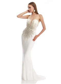 Sheath/Column Scoop Neck Sweep Train Chiffon Tulle Evening Dress With Beading