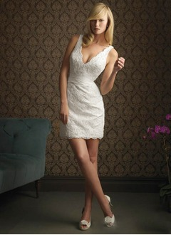 Sheath/Column V-neck Short/Mini Satin Lace Wedding Dress