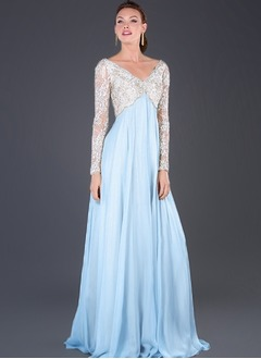 Empire V-neck Sweep Train Chiffon Tulle Mother of the Bride Dress With Appliques Lace