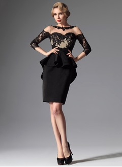 Sheath/Column Scoop Neck Short/Mini Satin Evening Dress With Appliques Lace