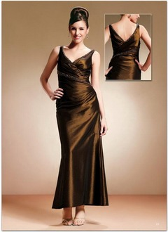 A-Line/Princess V-neck Ankle-Length Charmeuse Mother of the Bride Dress With Ruffle Beading
