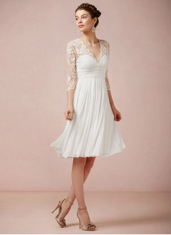 A-Line/Princess V-neck Knee-Length Chiffon Lace Wedding Dress  ...