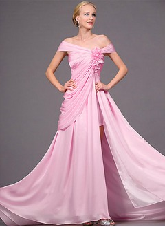 A-Line/Princess Off-the-Shoulder Sweep Train Chiffon Evening Dress With Ruffle Flower(s)