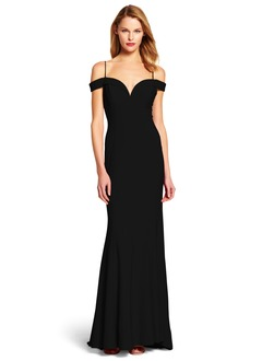 Sheath/Column Sweetheart V-neck Sweep Train Chiffon Evening Dress