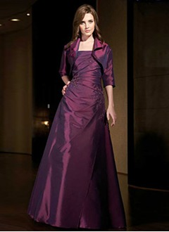 A-Line/Princess Strapless Floor-Length Taffeta Mother of the Bride Dress With Ruffle Beading Appliques Lace