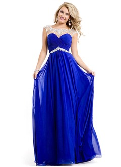 A-Line/Princess Scoop Neck Floor-Length Chiffon Tulle Prom Dress With Ruffle Beading
