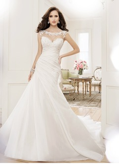 Trumpet/Mermaid Scoop Neck Cathedral Train Organza Tulle Wedding Dress With Ruffle Lace Beading