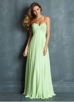 Empire Strapless Sweetheart Floor-Length Chiffon Prom Dress With Ruffle Flower(s)