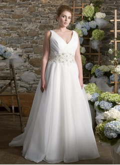 A-Line/Princess V-neck Sweep Train Organza Wedding Dress With Ruffle Beading