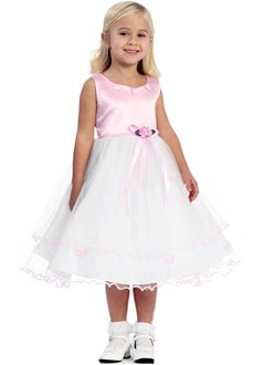 A-Line/Princess Scoop Neck Tea-Length Satin Tulle Flower Girl Dress With Ruffle Flower(s)