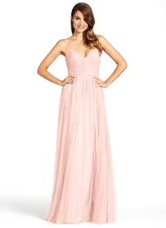 A-Line/Princess Strapless Sweetheart Floor-Length Tulle Bridesmaid Dress With Ruffle