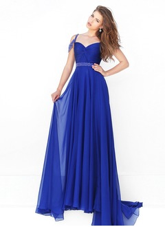 A-Line/Princess Sweetheart Sweep Train Chiffon Prom Dress With Ruffle Beading