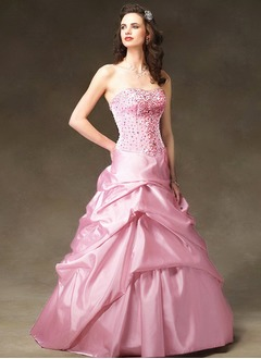 Ball-Gown Strapless Sweetheart Floor-Length Taffeta Quinceanera Dress With Ruffle Beading