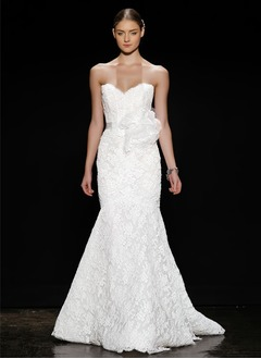 Trumpet/Mermaid Strapless Sweetheart Sweep Train Lace Wedding Dress With Sash Flower(s) Bow(s)