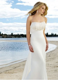 Empire Square Neckline Sweep Train Chiffon Wedding Dress With Ruffle