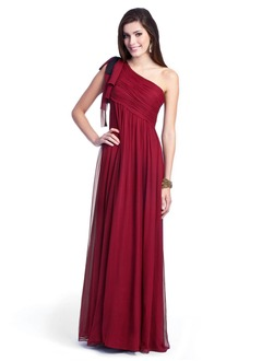 Empire One-Shoulder Floor-Length Chiffon Evening Dress With Ruffle Bow(s)