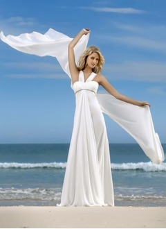 Empire V-neck Watteau Train Chiffon Wedding Dress With Ruffle Beading
