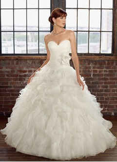 Ball-Gown Strapless Sweetheart Court Train Organza Wedding Dress With Ruffle Flower(s) Cascading Ruffles
