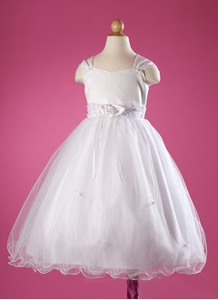 A-Line/Princess Sweetheart Floor-Length Satin Tulle Flower Girl Dress With Ruffle Beading