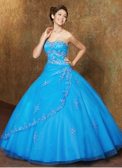 Ball-Gown Strapless Sweetheart Floor-Length Satin Tulle Quinceanera Dress With Lace Beading