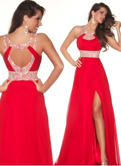 A-Line/Princess Scoop Neck Floor-Length Chiffon Prom Dress With Beading Split Front