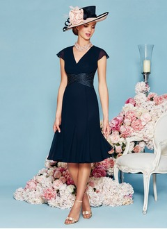 Sheath/Column V-neck Knee-Length Chiffon Mother of the Bride Dress With Ruffle Beading Cascading Ruffles