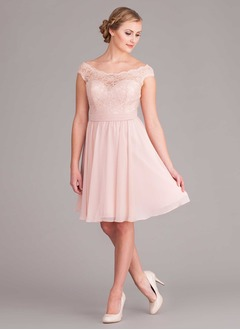 A-Line/Princess Off-the-Shoulder Knee-Length Chiffon Bridesmaid Dress With Lace