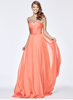 A-Line/Princess Scoop Neck Court Train 30D Chiffon Evening Dress With Ruffle Beading