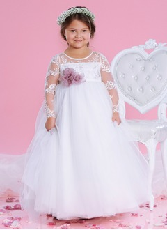 Empire Scoop Neck Floor-Length Tulle Lace Flower Girl Dress With Flower(s)