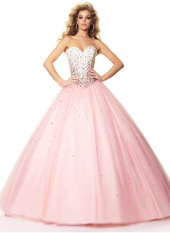 Ball-Gown Strapless Sweetheart Floor-Length Satin Tulle Prom  ...