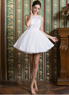 A-Line/Princess Scoop Neck Short/Mini Lace Wedding Dress