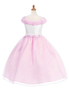 A-Line/Princess Off-the-Shoulder Tea-Length Organza Satin Flower Girl Dress With Flower(s) Bow(s)