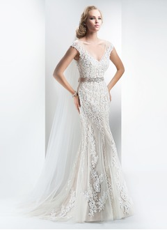 Sheath/Column V-neck Court Train Satin Tulle Wedding Dress With Sash Beading Appliques Lace