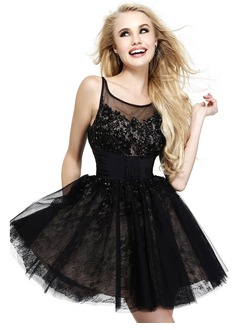 A-Line/Princess Scoop Neck Short/Mini Satin Tulle Lace Prom Dress With Ruffle Lace Beading Appliques Lace