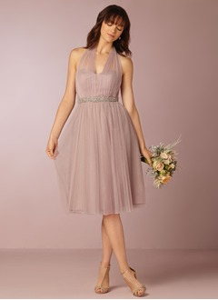 A-Line/Princess Strapless Sweetheart Knee-Length Tulle Bridesmaid Dress With Ruffle Bow(s)